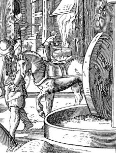Производство масла, 16ый век. Дж. Амман