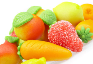 Sweets marzipan. In the form of fruit