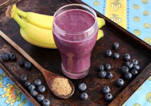 Blueberry smoothie made with banana and ground flax seeds