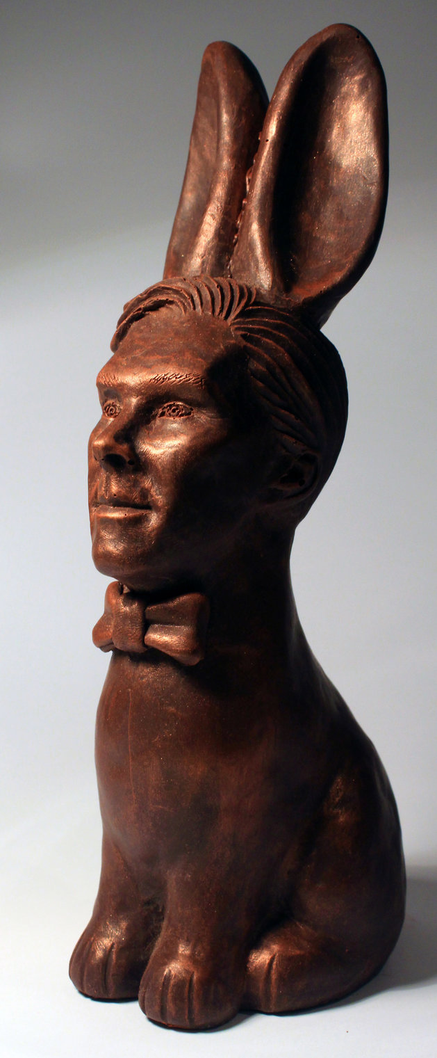 PIC BY BRANDNEWBADIDEA.COM/CATERS NEWS - (PICTURED: The chocolte cumberbunny.) - Benedict Cumberbatch fans have the chance to have a cheeky nibble at the award winning actor after he was immortalised in CHOCOLATE. The 400g Cumberbunny features the Sherlock Holmes actors handsome face, complete with two huge bunny ears, placed on a rabbit torso. Available in white, milk and dark chocolate each quirky Cumberbunny comes complete with an edible 22 carat cold bow-tie and lustre dust and costs 50 gbp. Brighton-based Chocolatician Jen Lindsey-Clark incorporated Cumberbatch into the figure due to his enduring popularity with fans. SEE CATERS COPY.