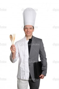 Businessman and chef on white background