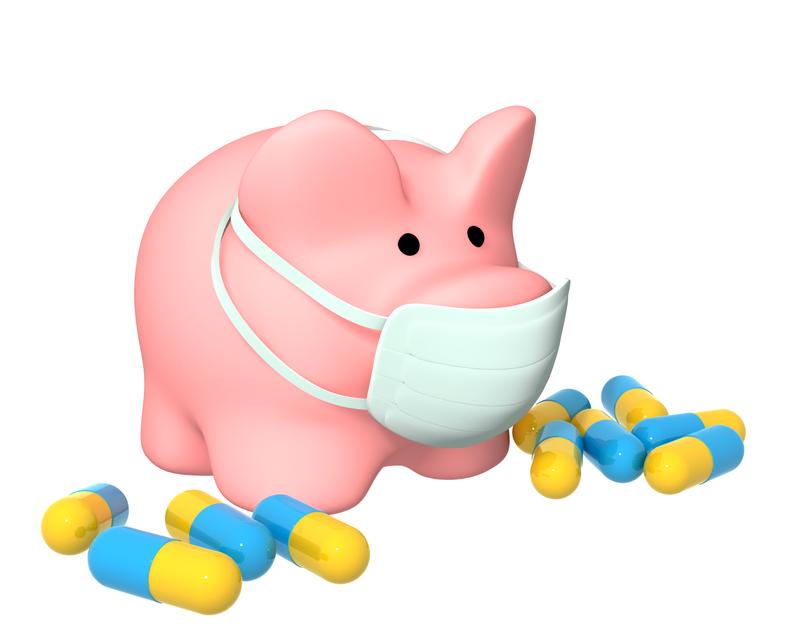 Conceptual image - epidemic of a swine flu