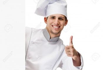 15868003-Looking-out-of-cardboard-sheet-chef-cook-thumbs-up-isolated-on-white-Stock-Photo
