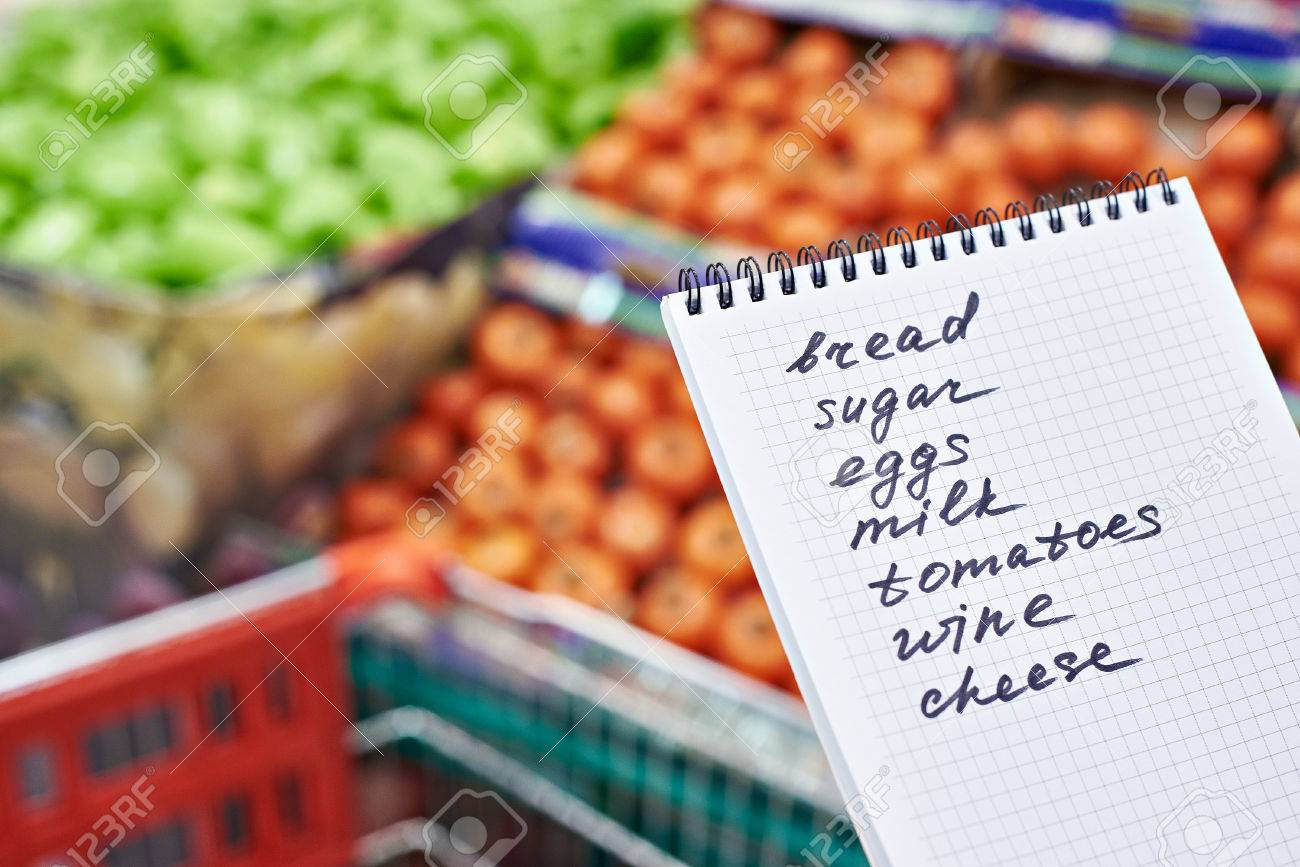 Shopping list in the hands of a woman in a supermarket