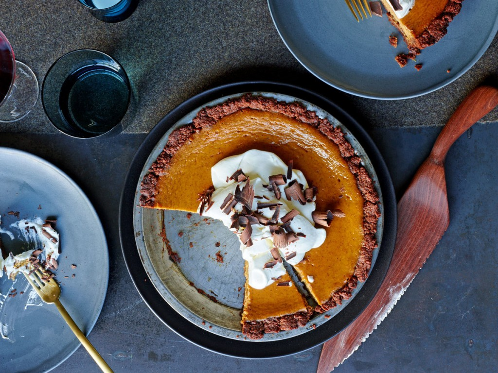 Chocolate Pumpkin Cream Pie + A151214 Food & Wine + Melissa Clark Thanksgiving 2015