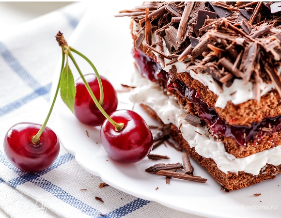 Black Forest cake piece on white plate with cherries berries clo