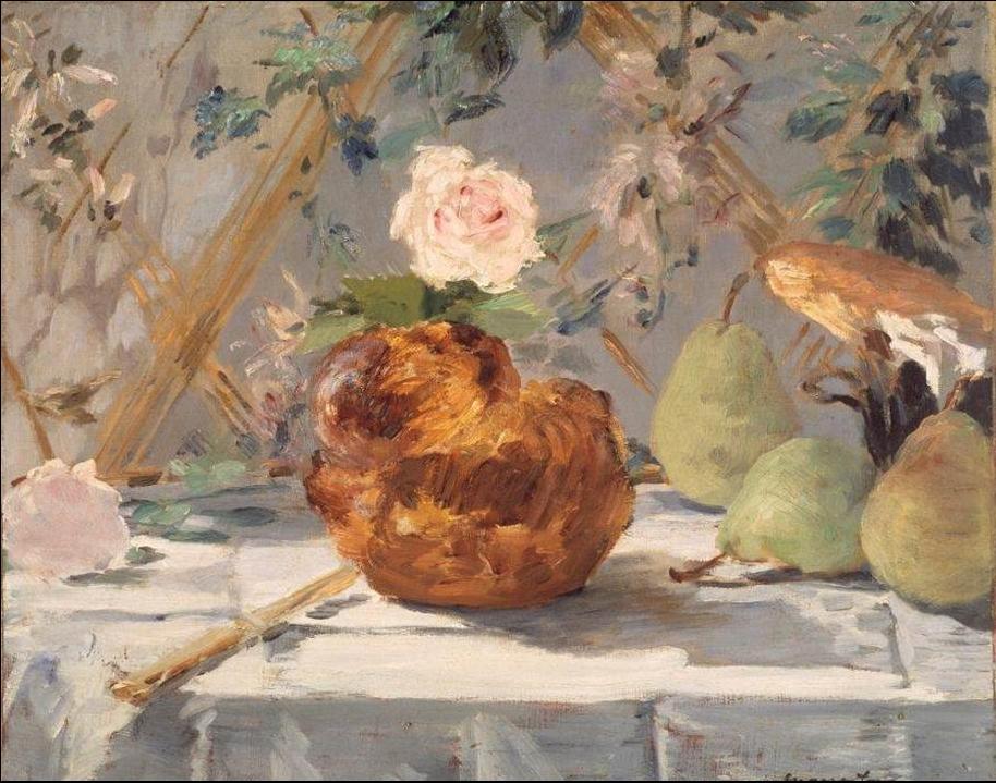 Édouard_Manet_-_Nature_morte,_brioche,_fleurs,_poires_(RW_251)